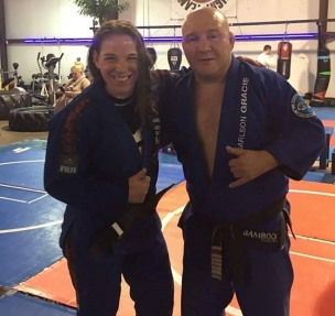 Coach Jessie Brown with Master Carlson Gracie Jr.